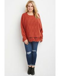 Forever 21 - Brown Plus Size Cable Knit Fringed Poncho - Lyst