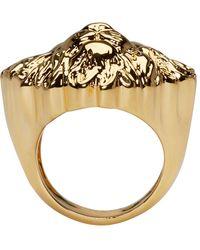 Versus - Metallic Gold Lion Ring for Men - Lyst