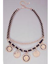 Bebe Metallic Lion Medallion Necklace