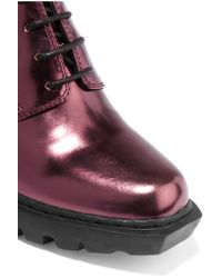 Opening Ceremony Purple Metallic Leather Ankle Boots