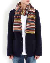 Paul Smith Blue Multicoloured Striped Wool Blend Scarf for men