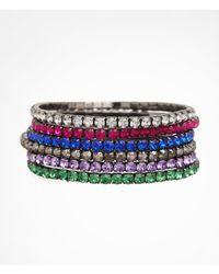 Express | Multicolor Six Row Rhinestone Stretch Bracelet Set | Lyst