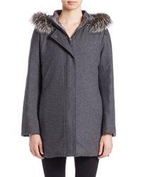 Fleurette | Gray Silver Fox Fur-trimmed Walker Coat | Lyst