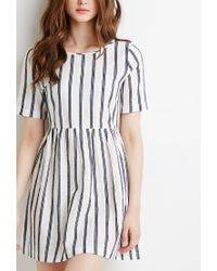 Forever 21 | White Striped Linen-blend Smock Dress | Lyst