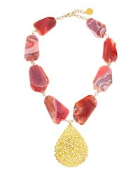 Devon Leigh | Metallic Porous Gold Plated Teardrop & Pink Agate Necklace | Lyst