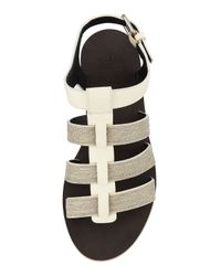 Brunello Cucinelli - Natural Monili Strappy Flat Sandals - Lyst