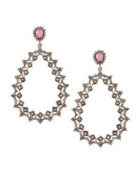 Bavna | Metallic Zigzag Teardrop Diamond Earrings | Lyst