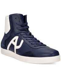 Armani Jeans | Blue Logo Hi-top Sneakers for Men | Lyst