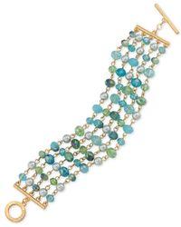 Carolee - Metallic Gold-tone Multi-row Beaded Bracelet - Lyst