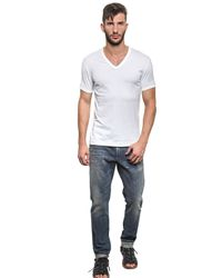 Dolce & Gabbana White Cotton Jersey V Neck T-Shirt for men