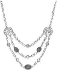 Style & Co. | Metallic Silver-tone Glitter And Filigree Three-row Necklace | Lyst