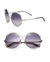 Chloé   Purple Isadora 59mm Round Sunglasses   Lyst