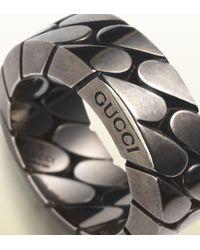 Gucci Metallic Wide Silver Chain Ring