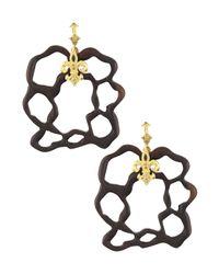 Armenta | Metallic Diamond & Sapphire Fleur De Lis Wooden Earrings | Lyst