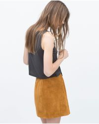 Zara   Gray Crop T-shirt   Lyst