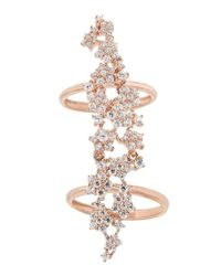 Pori - Red 18k Rose Gold Plated Stars Cz Double Knuckle Ring - Lyst