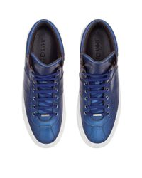Jimmy Choo Belgravia Capri Blue Metallic Saffiano High Top Trainers for men