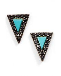 Freida Rothman Black 'metropolitan' Triangle Stud Earrings (online Only)
