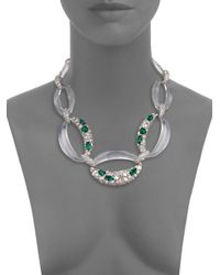 Alexis Bittar - Metallic Deco Lucite & Crystal Link Necklace - Lyst