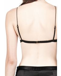 Alexander Wang - Black Silk Satin Triangle Bralette - Lyst