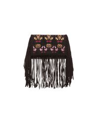 Isabel Marant | Black Shiloh Embroidered Fringe Clutch | Lyst