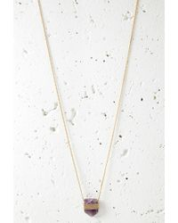Forever 21 | Purple Faux Stone Longline Necklace | Lyst
