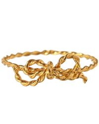 Alex Monroe Metallic Gold-Plated Little String Bow Ring