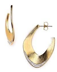 Nadri - Metallic Petals Hoop Earrings - Lyst
