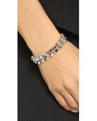 Gemma Redux | Metallic Chain Cuff Bracelet - Rhodium | Lyst