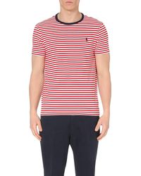Ralph Lauren | Red Striped Cotton-jersey T-shirt for Men | Lyst