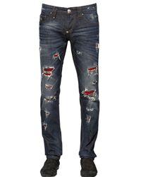 Philipp Plein Blue 17Cm Destroyed Cotton Denim Jeans for men