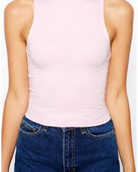 ASOS - Natural Crop Top With Turtle Neck - Lyst