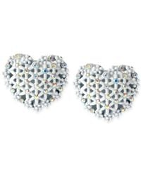 Betsey Johnson | White-Tone Heart Button Earrings | Lyst
