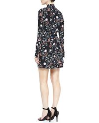 A.L.C. Black Charles Flower-print Silk Dress
