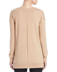 Lord & Taylor | Natural Plus Merino Wool Knit V-neck Tunic | Lyst