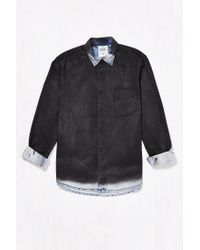 Cheap Monday - Black Air Chalk Spray Denim Button-down Shirt for Men - Lyst