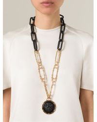 Versus - Lion Black Medal Long Necklace - Lyst