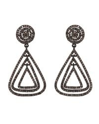 Adornia | Metallic Champagne Diamond And Sterling Silver Marquis Earrings | Lyst