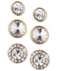 Nine West | Metallic Gold-tone Crystal Stud Earring Set | Lyst