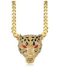 Roberto Cavalli | Metallic Panther Golden Necklace Wcrystals and Glaze | Lyst