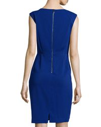 Laundry by Shelli Segal - Blue Seamed Stretch Crepe Dress - Lyst