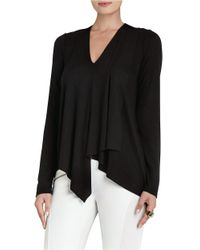 BCBGMAXAZRIA | Black Trishna Long Sleeve Asymmetrical Top | Lyst