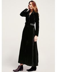 Free People Black Victory Velvet Maxi Duster
