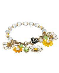 Betsey Johnson   Metallic Rose Gold-Tone Flower Stretch Bracelet   Lyst