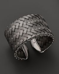 Roberto Coin | Gray Sterling Silver And Ruthenium Wide Cuff | Lyst