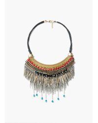 Mango - Metallic Mixed Bead Necklace - Lyst