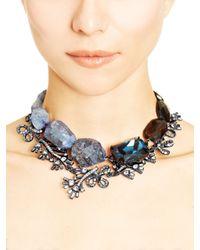Oscar de la Renta | Blue Dark Navy Quartz Glass & Swarovski Crystal Necklace | Lyst