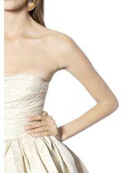 dsquared² gold lurex  matte satin bustier dress in ivory