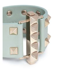 Valentino - Green 'rockstud' Bar Clasp Wide Leather Bracelet - Lyst