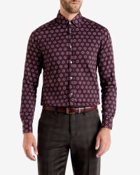 Ted Baker | Red Beastie Spot Print Regular Fit Button Down Shirt for Men | Lyst